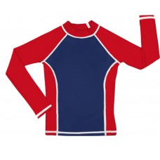 Navy /Red UV Long Sleeve Swim Shirt